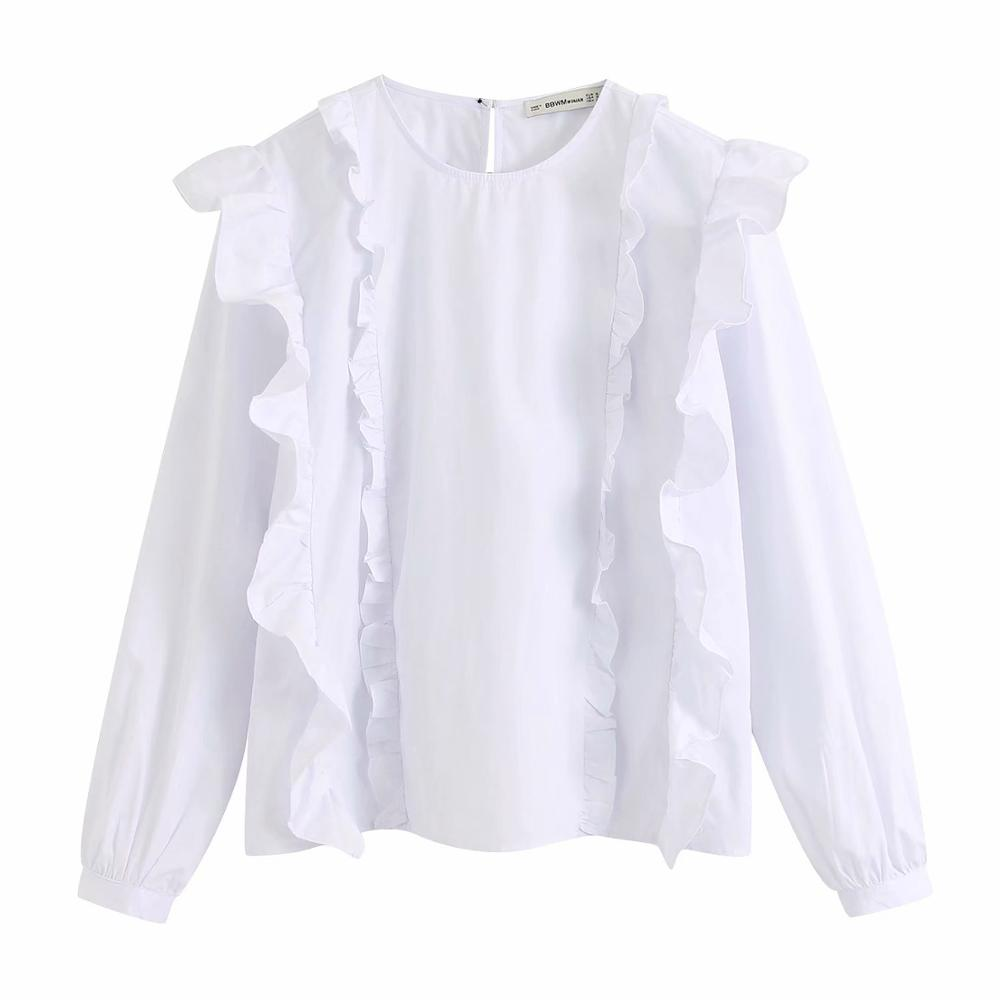 2020 Women O Neck Long Sleeve Cascading Ruffles Casual White Smock Blouse Shirts Women Agaric Lace Chemise Femininas Tops LS6361