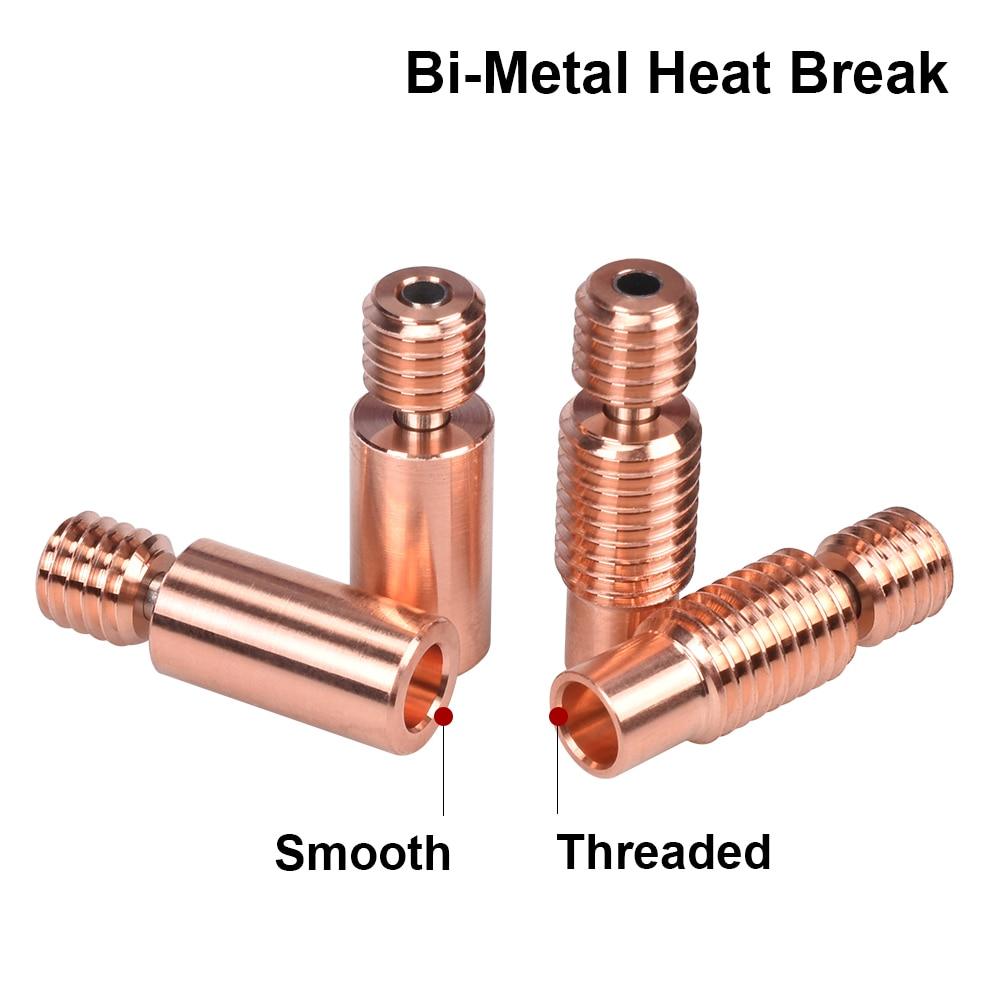 High Quality Bi-Metal Heat Break V6 Throat For E3D V6 PT100 Hotend Prusa i3 MK3 Heater Block 1 75mm 3D Printer Parts heatbreak