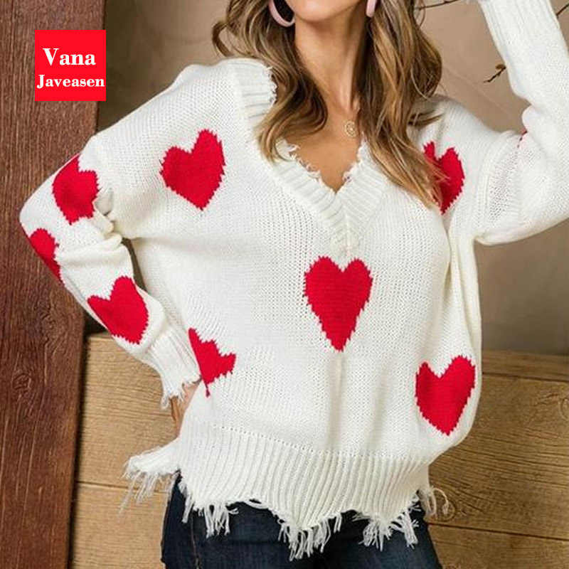 Vana Javeasen V-neck Autumn Sweater For Women Tassel Knitted Sweater Women Female Tops Long Sleeve Pullover Heart Sweaters 2019