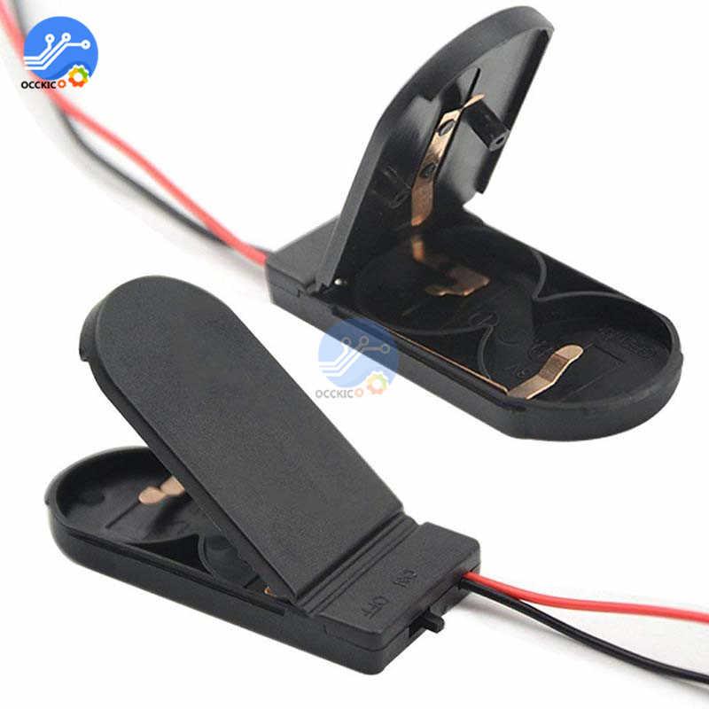 Noir/blanc CR2032 pile bouton support de cellule prise boîtier de rangement avec interrupteur marche/arrêt