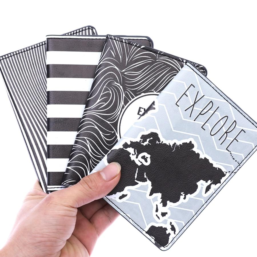 New Travel Striped PU Leather Passport Cover Case Women Men Travel Credit Card Holder Travel ID Document Passport Holder CH08