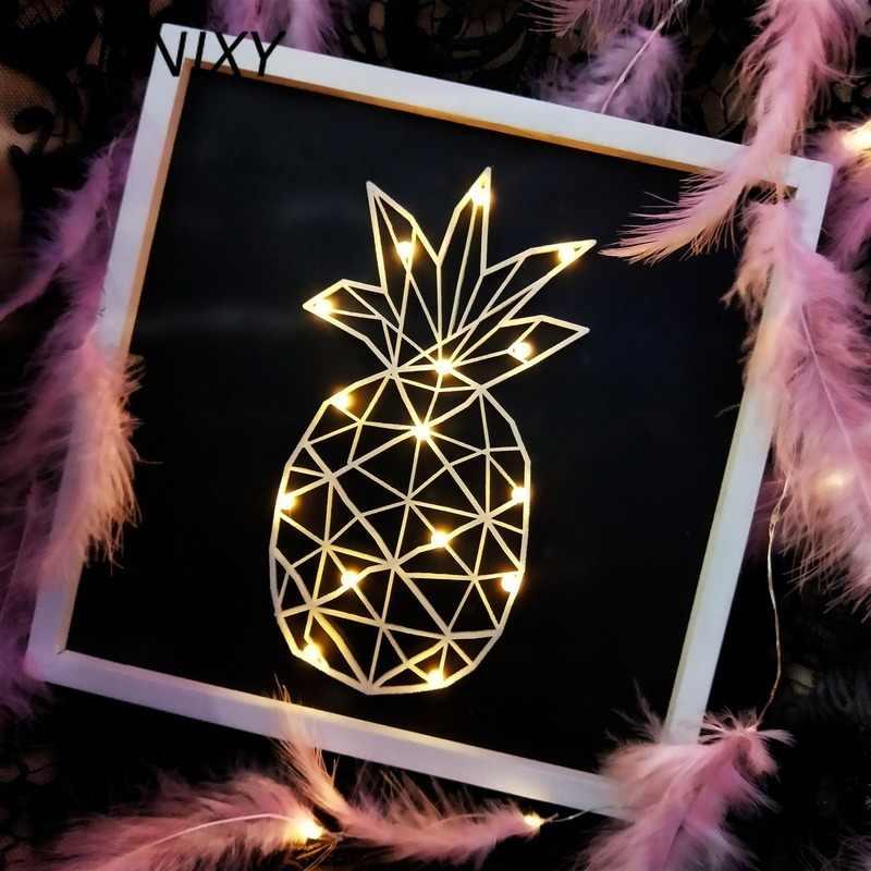 Hinnixy Khung Ảnh Người Mẫu Đèn Ngủ Phong Cách Nữ Trắng Ấm Động Vật Kim Cương Dứa Đầu Giường Đèn Boutique Trang Trí