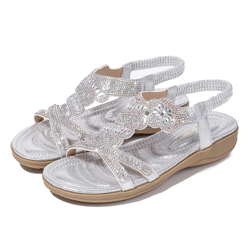 Fashion Casual  Sandals Women Flat Wedges Party Diamonds Gladiator 201