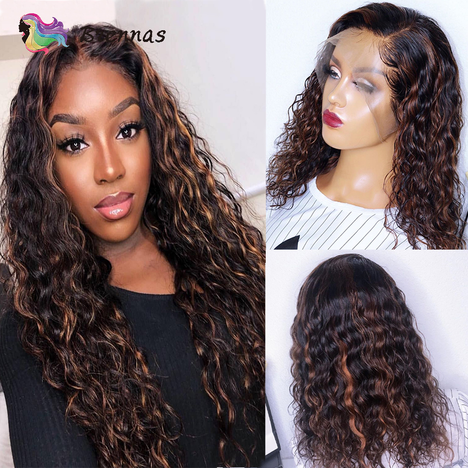 Brazilian Highlight Human Hair Lace Wig 13X4 Lace Front Wig P1B30 Ombre Curly Lace Front Wig Bleached Knots Remy Hair For Women