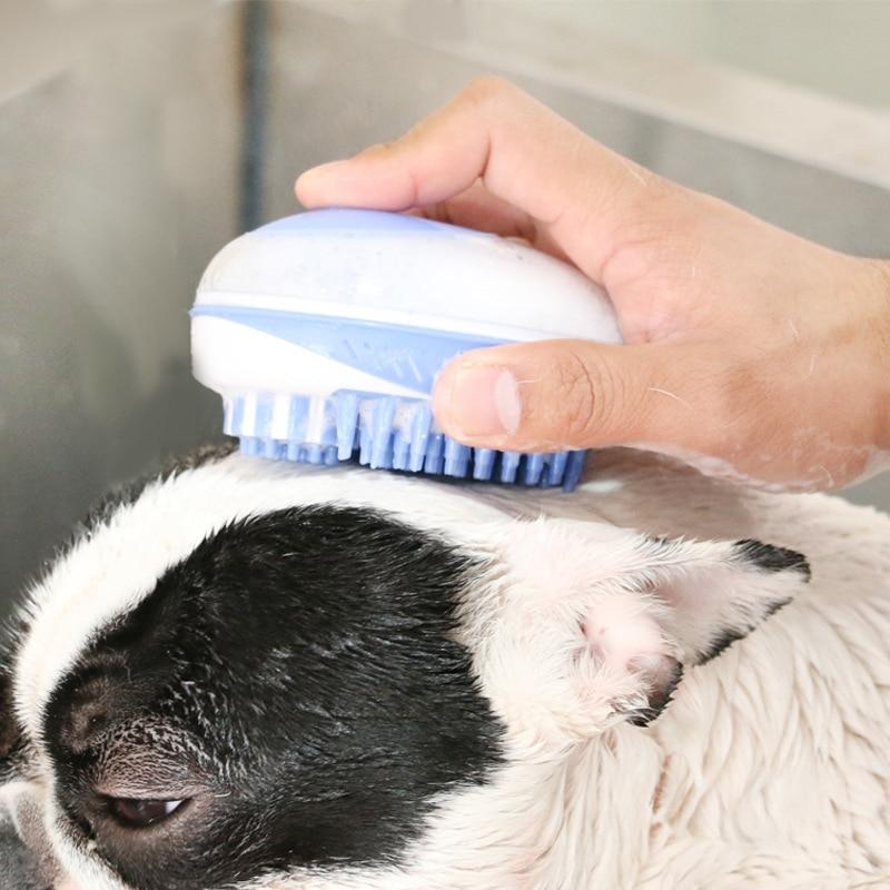 Brosse de bain pour chien en silicone avec réserve de shampoing