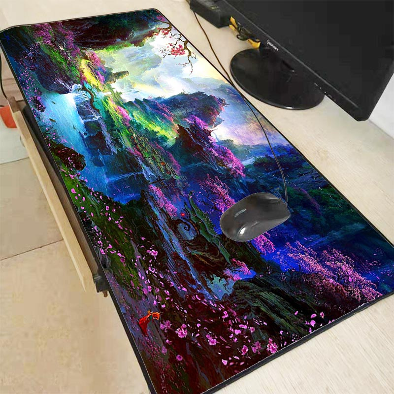 XGZ Flower Forest Fantasy Scenery Large Gaming Mouse Pad PC Computer Gamer Mousepad Desk Mat Locking Edge For CS GO LOL Dota XXL