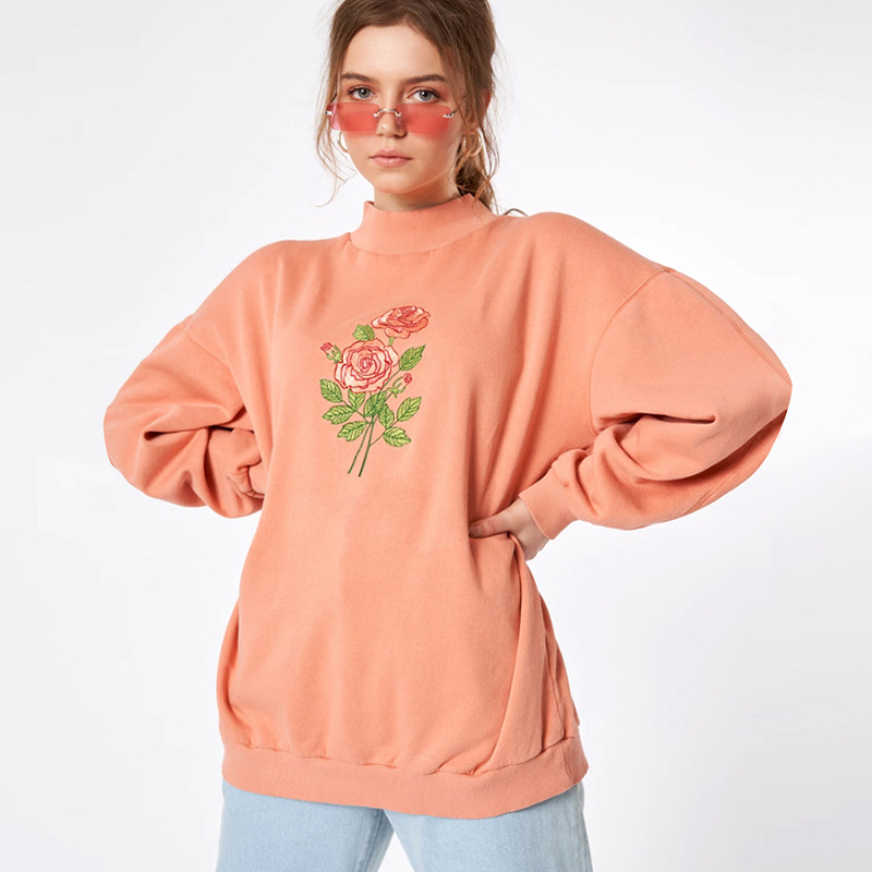 Cryptographic Fashion Women's Floral Sweatshirt Solid Long Sleeve Long Turtleneck Sweatshirts Autumn Winter Clothes Harajuku