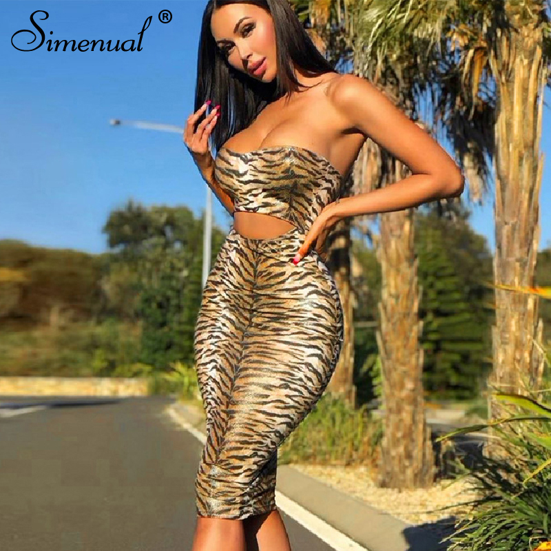 Simenual Tiger Print Sexy Hot Party Dress Women Strapless Fashion 2020 Bodycon Dresses Hollow Out Clubwear Skinny Midi Dress