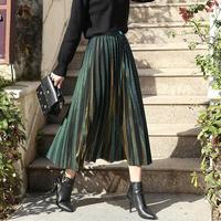 2019 Women Autumn Winter Metallic Glitter Stripe Pleated Midi Skirt Female Vintage Sequin High Waist Accordion Pleat Skirt