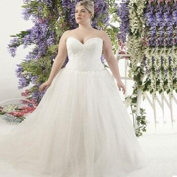 2020 Plus Size Wedding Dresses Custom Sweetheart Sleeveless Shinny Tulle Ball Gown Bride Dress vestidos de novia - discount item  50% OFF Wedding Dresses