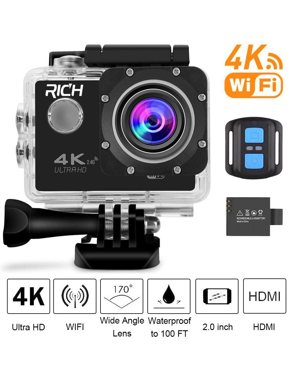 F60 F60R 4K Wifi Action Camera 16MP 170D Sport DV 30M Go Waterproof Pro Extreme Sports Video Bike Helmet Car Camera for Youtube