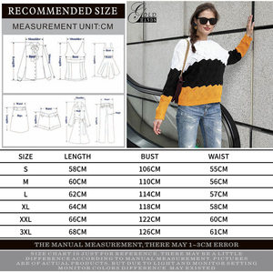 Image 5 - Gold Hands New Women Vintage Splice Autumn Ladies Pullover Jumper Winter Long Sleeve Crewneck Knitted Pullover Sweater Free Ship