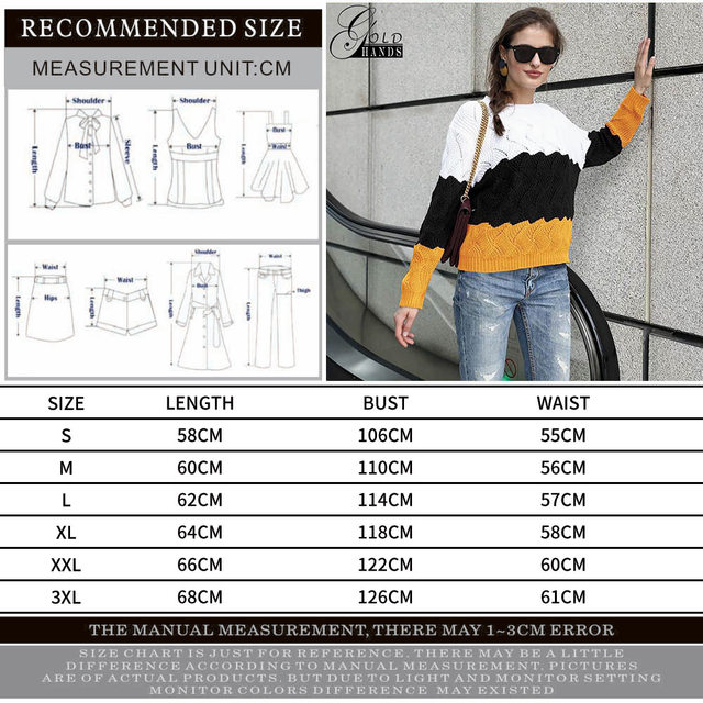 Gold Hands New Women Vintage Splice Autumn Ladies Pullover Jumper Winter Long Sleeve Crewneck Knitted Pullover Sweater Free Ship 10