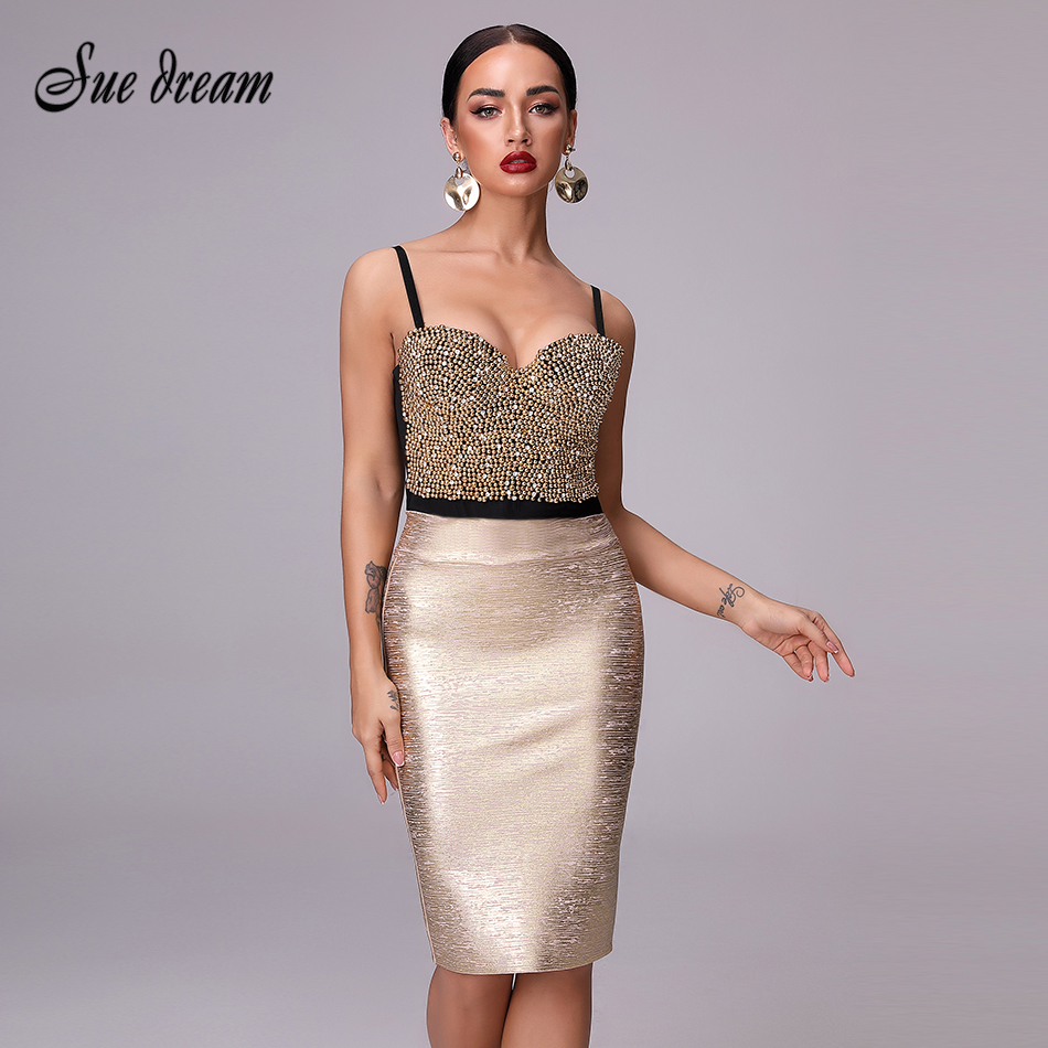 2018 Autumn And Winter Women's New Fashion Sexy Bandage Tight Gold Knee High Waist Pencil Skirt