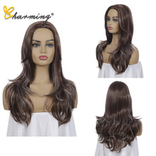 CHARMING Long Synthetic Wigs Ombre Brown Blonde Middle Part