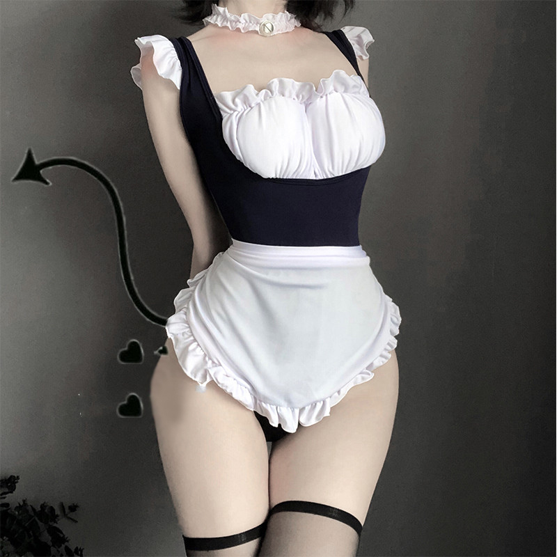 Japanese Lingerie Sexy Costumes Perspective Underwear Maid Roleplay Cosplay Erotic Ruffles Cat Outfit SM School Girl Body Suit