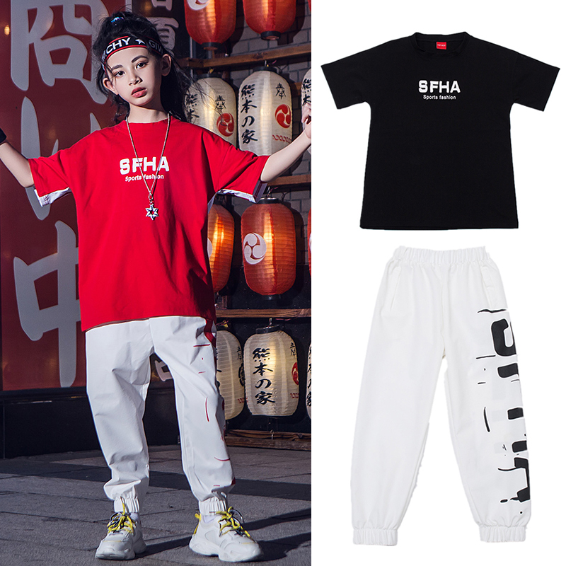 Loose Hip Hop Dance Costume Kids Jazz Dancing Wear Street Dance Practice Wear Performance Clothing Child Sport Clothes DC4958