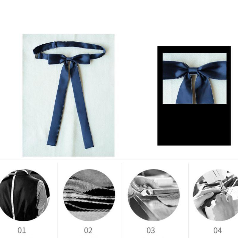 Men Women Pre-Tied Bow Tie Adjustable Neck Strap School Student Long Narrow Ribbon Necktie Silky Solid Color Uniform Suit Choker