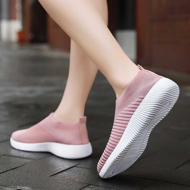 Phụ Nữ Lưu Hóa Giày Nữ Chất Lượng Cao Cho Chân Trên Đế Giày Nữ Giày Đi Dạo Plus Size 42 Đi Bộ Bằng Phẳng