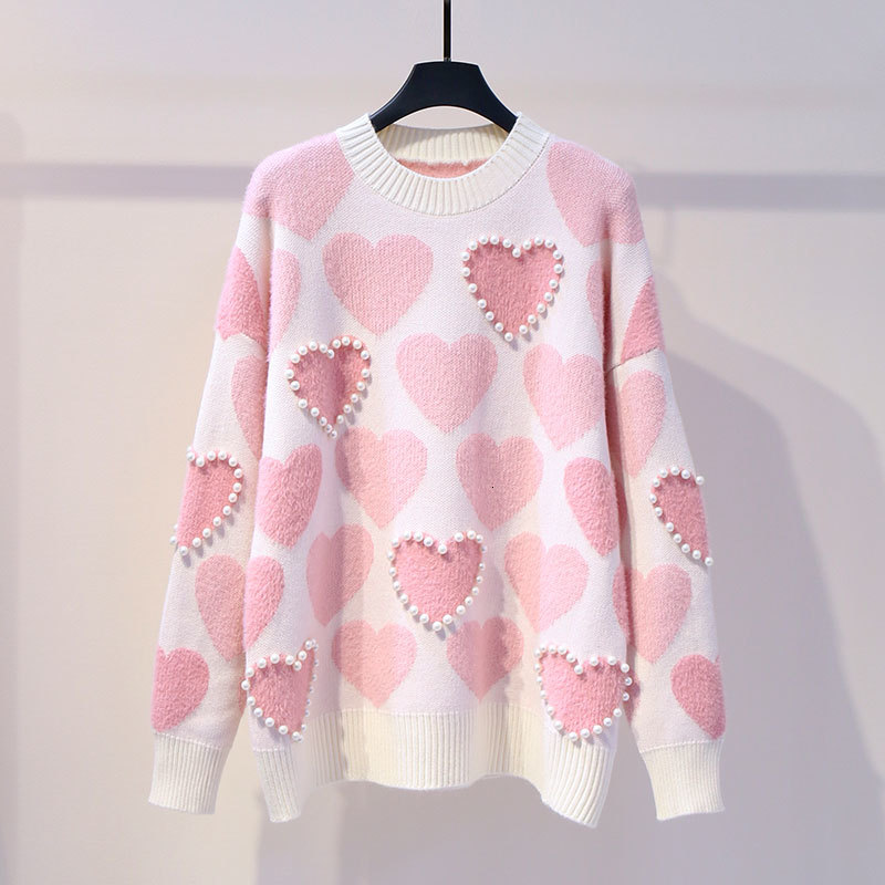 Sweet Preppy Style Sweater Autumn Winter Clothes Women Fashion New Pullovers Knitted O-neck Beading Ladies Tops Loose