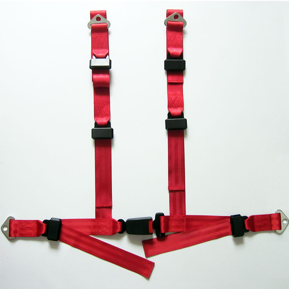 Safety Seat Belt Nylon 4 Point Car Auto Vehicle Racing Harness Quick Release Red, Black Width 4.8CM Thickness 1MM  Fixing