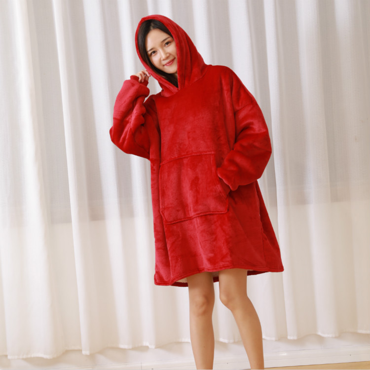One Size Women Oversized Hoodie Fleece Hoodies Sweatshirts Men Sweat Plaid Couverture Blanket Winter Warm Robe Casaco Feminino