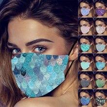 Cara máscara escalas de impresión de moda Cool mujeres máscara de hombre mascarilla con brillantes bufanda resistente al viento lavable reutilizable de la barra del Partido de masky