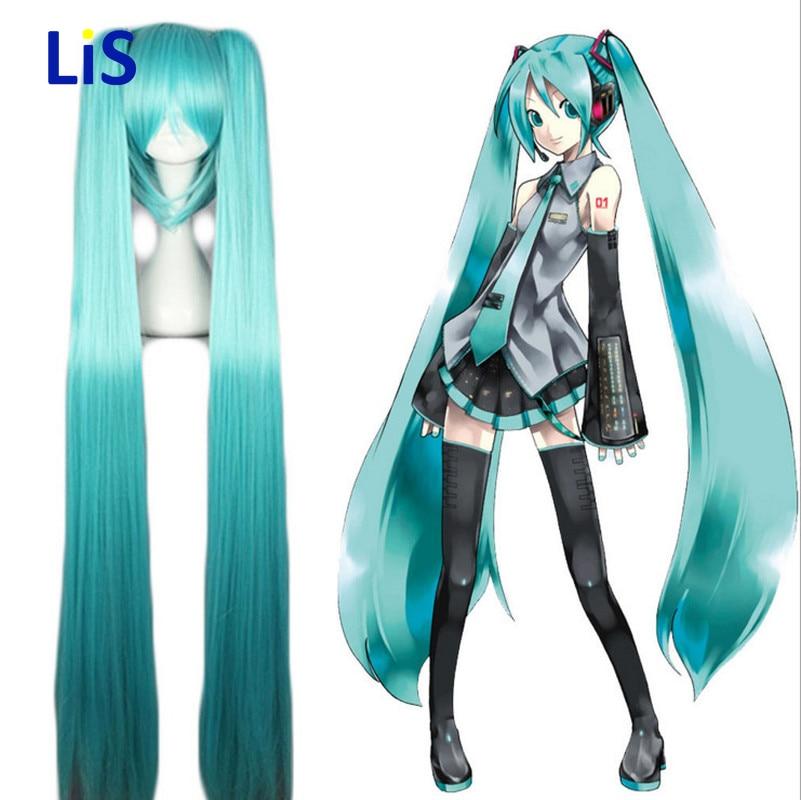 Vocaloid MIKU Senbonzakura Cosplay Wigs High-temperature Fiber Synthetic Hair Base Wig and Two Ponytails Hair + free hair cap