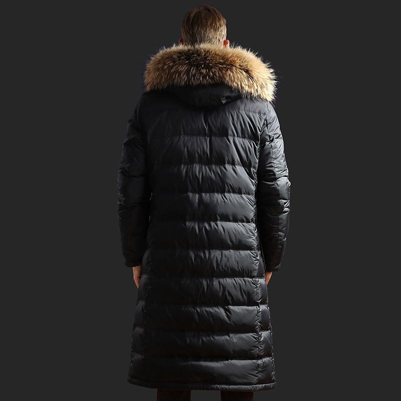 White Goose Down Jacket Men Long Winter Coat Raccoon Fur Collar Plus Size Warm Men's Down Jackets 2020 91608 KJ3095