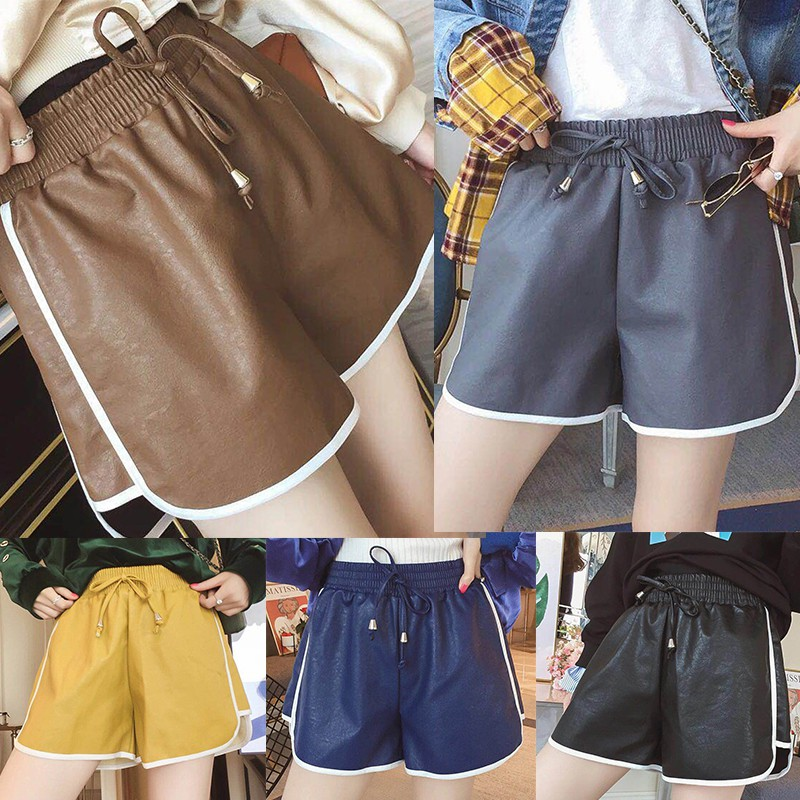 Women Short Pants Soft Comfy Mid Rise Loose Casual Shorts PU Leather Pants