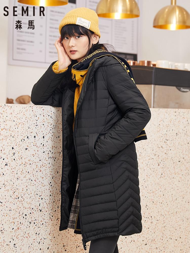 SEMIR Long Down Jacket Women 2019 Winter New Light Familiar Wind Black Thick Warm Jacket Casual Trend Ladies Clothing