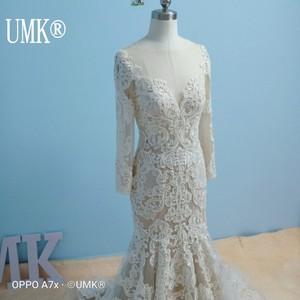 Image 1 - UMK Long Sleeve Mermaid Wedding Dress 2020 Chic Lace Boho Wedding Gowns Pearl sequins See Through Sexy Vestido De Noiva