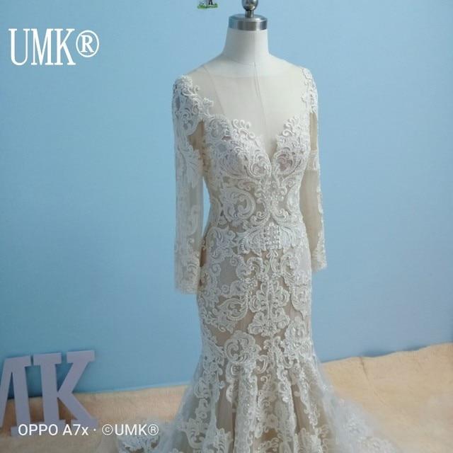 UMK Long Sleeve Mermaid Wedding Dress 2020 Chic Lace Boho Wedding Gowns Pearl sequins See Through Sexy Vestido De Noiva