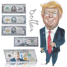 WR Colorful Silver Banknotes US Trump Fake Dollars Replica Money Paper Collecting for Birthday Gifts