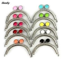 10 Pcs/Lot 8.5 CM Semicircle Silver Tone Lace Flat Bead Metal Purse Frame Kiss Clasp Bag Accessories