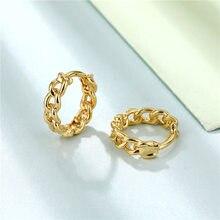 Simple Fashion Chain Hoop Earrings For Women Vintage Gold Silver Color Small Earrings Female Punk Jewelry Girls Hip Hop Earrings