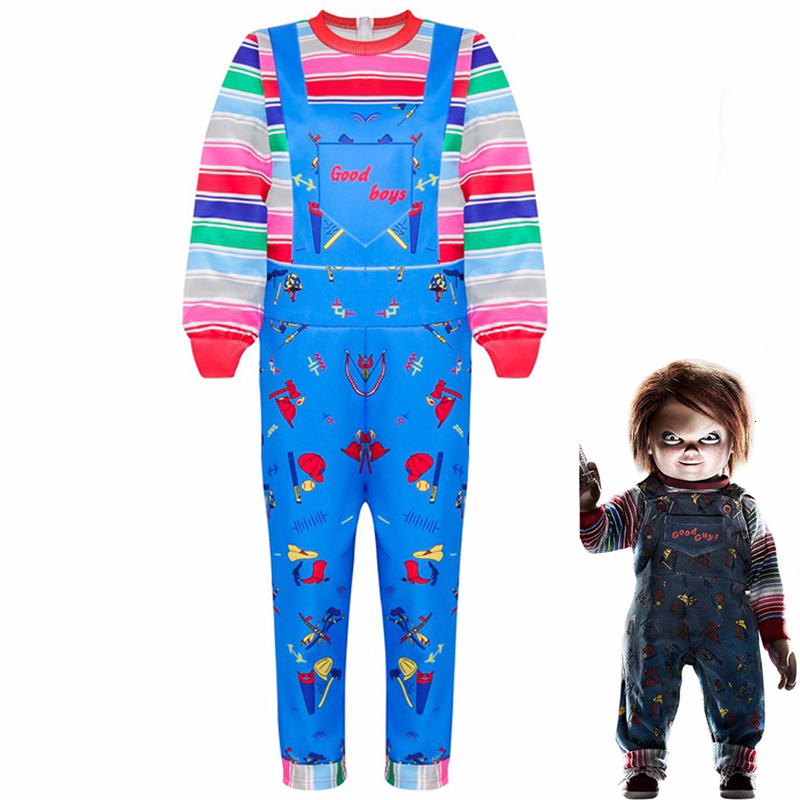 Kids Halloween Child's Play Chucky Cosplay Costume Boys Girls Cartoon Horror Ghost Doll 3D Printed Long Sleeve Jumpsuits Dress