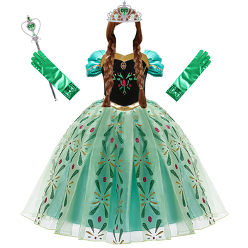 Anna Dress for Girls Cosplay Snow Queen Princess Costume Kids Summer Clothes Children Birthday Carnival Fancy  Disguise and Wig girls jasmine costume and wig headband kids christmas carnival birthday party dress children cosplay clothes accessories