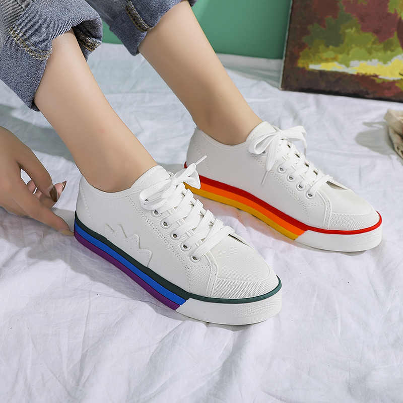 White Shoes Woman Canvas Sneakers