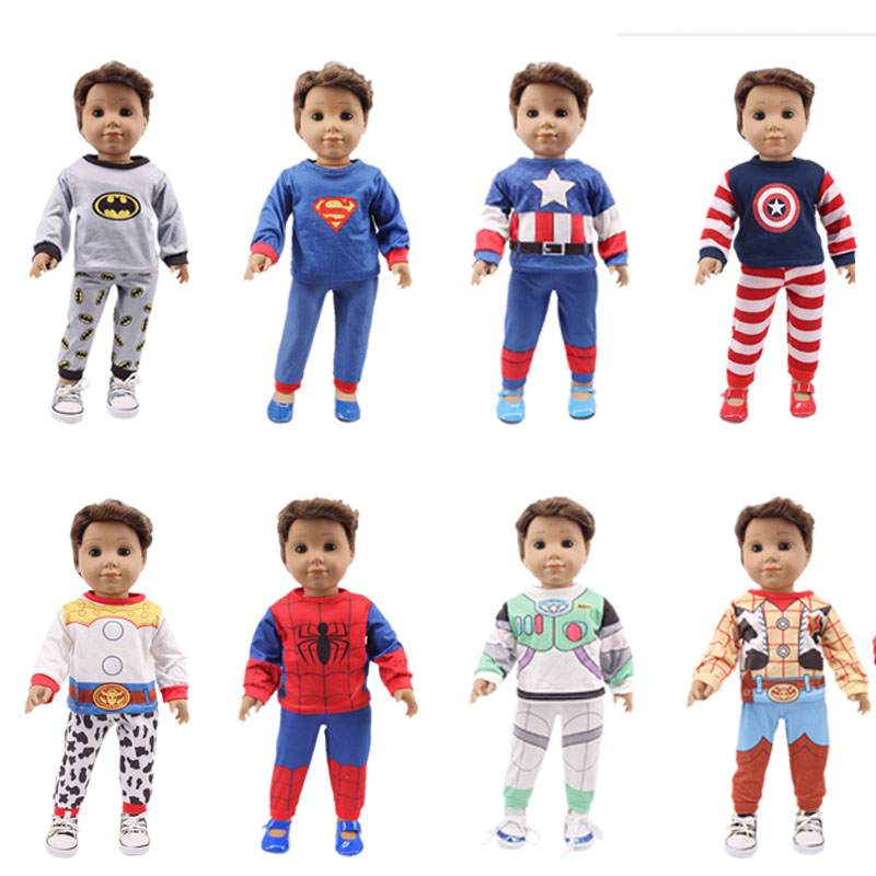 New Arrivals 8 Styles 2 Pcs/Set Doll Pajamas For 18 Inch American&43 Cm Born Doll Superhero Clothes Christmas Girl`s Best Toy