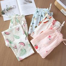 100% Gauze Cotton Ladies Sleeping Pants Floral Print Variety Styles Sleep Bottoms