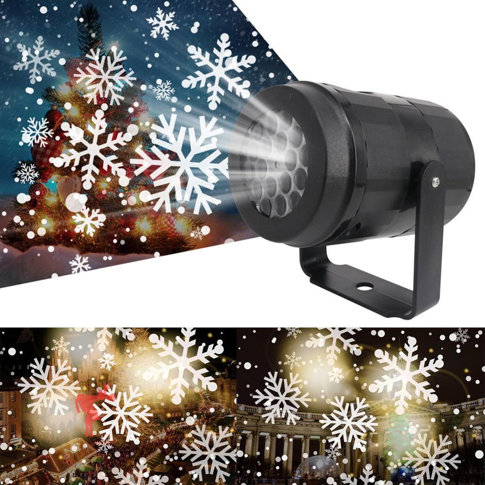 Christmas Decoration Snowflake LED Projector Lights New Year Home Decoration Festival Holiday Decor Snow Projector Night Light