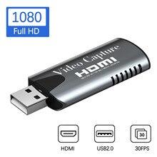 Карта видеозахвата с HDMI на USB 2,0, HD-рекордер 1080P для игр и прямых трансляций