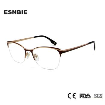 Aluminiowe okulary damskie modne okulary dla osób z krótkowzrocznością ramki dla urody kobiety pół pół-rimless okulary kocie oko okulary na receptę tanie i dobre opinie ESNBIE WOMEN Stop CN (pochodzenie) Stałe Z1018-1 eyeglasses FRAMES Okulary akcesoria alloy 52-18-140 BLACK GOLD BROWN GOLD RED GOLD