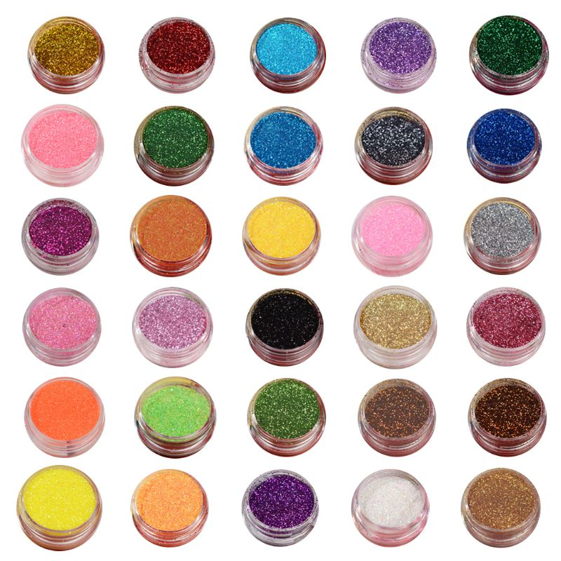 30 Pcs/set  Bright Crystal Epoxy Nail Jewelry DIY Glitter Powder Quick Sand Filler