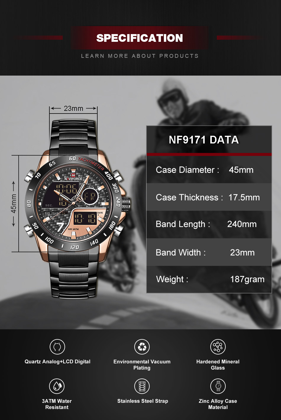 Naviforce NF 9171 Fashion Quartz Watch 7