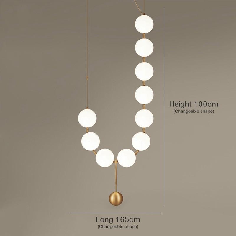 American Style Pendant Lamp Restaurant Glass Ball Necklace Creative Pendant Lights Postmodern Nordic Living Room