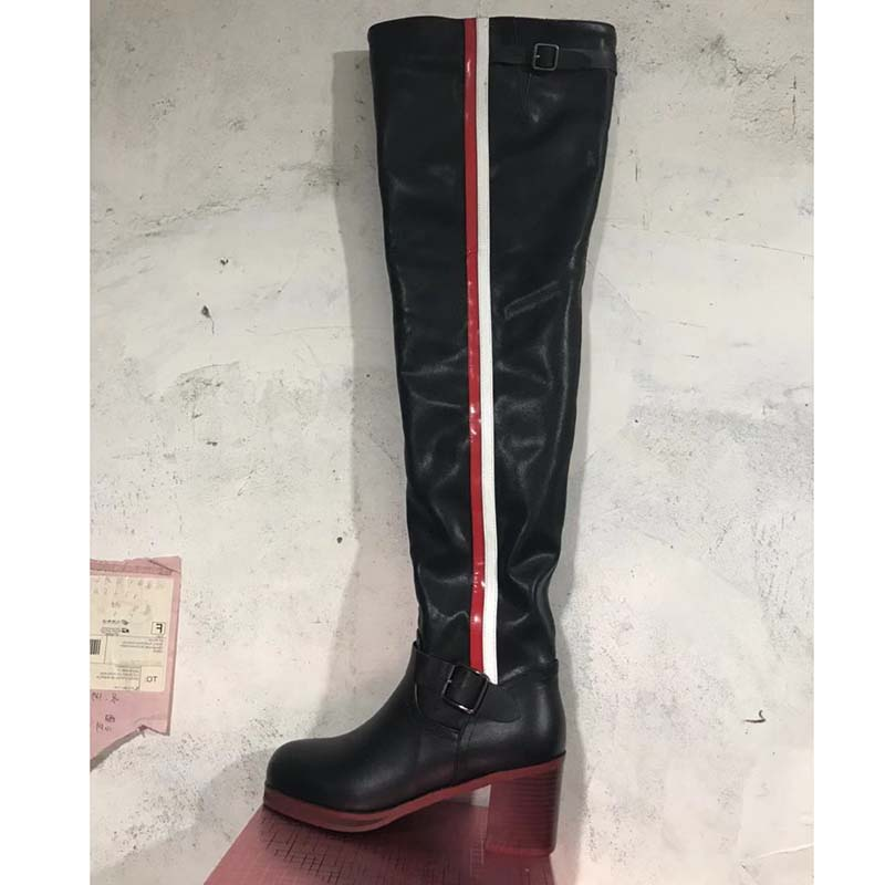 2019 bottes en cuir noir sur le genou femme couleur mixte boucle en métal bottes à talons hauts femme bottes de chevalier de mode-in Cuissardes from Chaussures    2