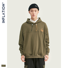 INFLATION FW 2019 Dropped Shoulders Men Hoodie In Green Colo