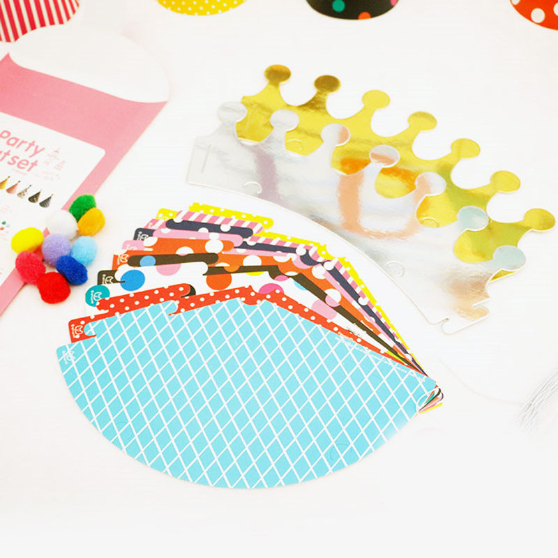 Children Happy Birthday Party Hats Polka Dot DIY Cute Handmade Cap Crown Shower Baby Decoration Boy Girl Gifts Supplie